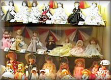 Doll collection display.